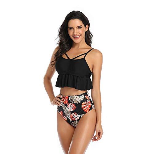 DKNBI Bikini de Cintura Alta Traje de baño Halter Mujeres Conjunto de Bikini con Volantes Florales Mujeres Biquinis Estampados de Flores Traje de baño de Talla Grande