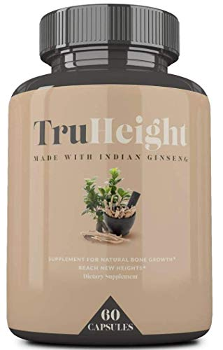 Height Growth Formula - Grow Taller Supplement - Supplement for Natural Bone Growth - Height Pill Supplement - Keto & Vegan with Indian Ginseng 'Ashwaganda' & Nanometer Calcium - TrueHeight (60ct)