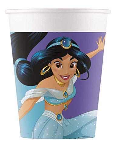 Procos 90867 Partybecher Disney Prinzessinnen aus Pappe, 8 Stück, lila