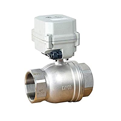 BOKYWOX DC 12V Motorized Ball Valve NPT 2'' Electrical Ball Valve CR2-01 with Manual Override & Indication Stainless Steel 304 by BOKYWOX