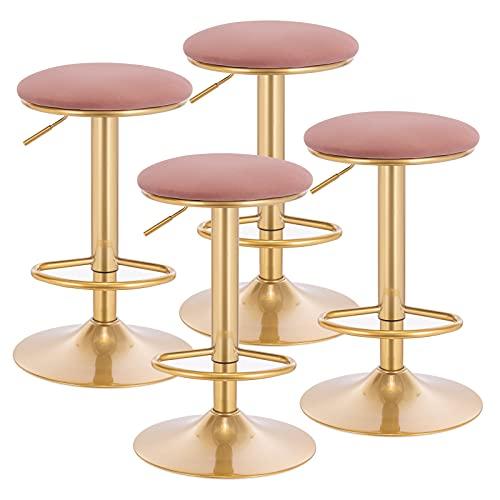 WOLTU 4x Sgabelli Bar con Poggiapiedi Sedia Alta con Sedile Imbottito per Cucina Altezza Regolabile Sgabello Girevole 360° in Metallo Rosa BH302rs-4