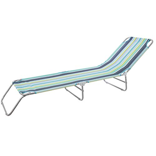 LOLAhome Tumbona Playa de 3 pies de Hierro Plegable y Lona (Multicolor)