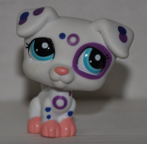 Jack Russell # 2306 (White, Blue Eyes) - Littlest Pet Shop (Retired) Collector Toy - LPS Collectible Replacement Figure - Loose (OOP Out of Package & Print)