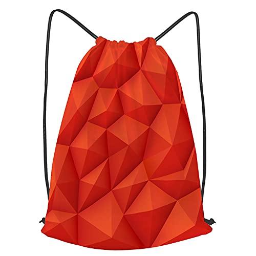 Impermeable Bolsa de Cuerdas Saco de Gimnasio Fondo rojo polígono 3d, textura de origami moderno.Triángulo de patrón de polígono, ilustración de patrón de Deporte Mochila para Playa Viaje Natación