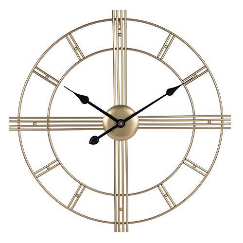 Mengshen Reloj De Pared De Metal Grande De 60 cm, Reloj Decorativo Retro Europeo Que No Hace Tictac Funciona con Pilas para El Hogar, Dormitorio, Sala De Estar (Dorado)