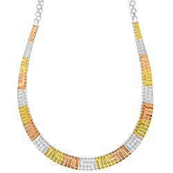 Ellen Tracy Jewelry Tri Color Curve Omega Bar Necklace