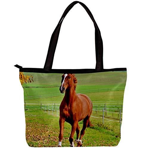 Mujer Bolsos de mano Tela de Sarga bolsos de hombro Bolsos totes Bolsos bandolera Shoppers Bolsa de playa Prado de caballo marrón 30x10.5x39cm