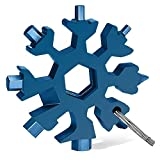 Veiai Snowflake Multitool, 18-in-1 Multifunctional Screwdriver Keychain Wrench for Outdoor Activities Accessories (Blue)