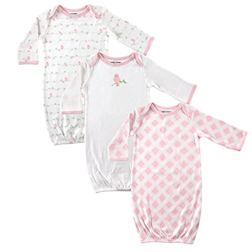 Luvable Friends Unisex 3 Pack Cotton Gown, Pink Bird, 0-6 Months