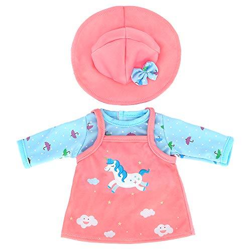ZWOOS Puppenkleidung für New Born Baby Doll, Einhornmuster Outfit mit Hut für Puppen 35-43 cm