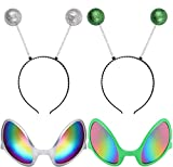 CHICHIC 2 Pairs Alien Headband and Alien Glasses, Alien Sunglasses, Glitter Green Silver Martian Headband Head Boppers Antenna Headband Set, Alien Costume Party Favors Accessories for Adults and Kids