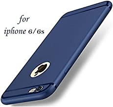 WOW Imagine Soft Silicone All Sides Protection 360 Degree Anti Dust Plugs Shockproof Slim Back Cover for Apple iPhone 6/6S 4.7 Inch Screen (Navy Blue)