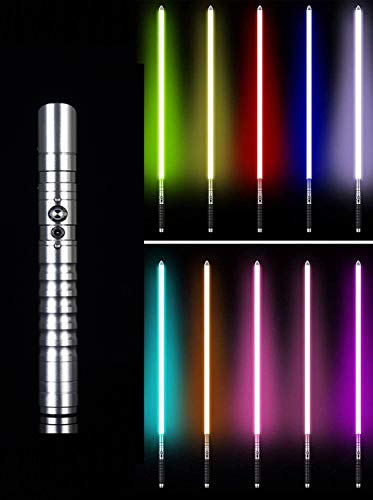 Metall Lightsaber Grade Light Säbel Lichtschwert Schwert Metallgriff 11 Farbwechselbeleuchtung, Kinder Erwachsene Spielzeug Geschenk Requisiten, Sound Vibrationseffekte Licht Säbel,Silber