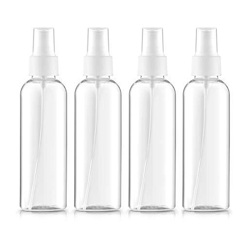 Beito 4pc Bote Spray Botella de Aerosol Vacío Plástico Transparente Niebla Fina Atomizador de Viaje Conjunto de Botellas (100 ML)