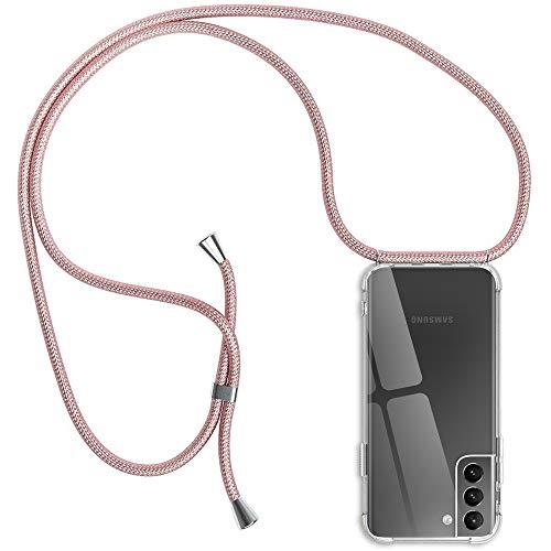 Handykette Hülle für Samsung Galaxy S21 5G, Transparent Silikon Schutzhülle Handyhülle mit Kordel für Samsung S21/ S30, Rosyheart TPU Hülle Cover mit Band zum Umhängen Necklace Halskette, Roségold