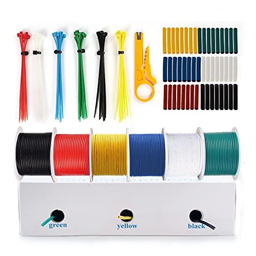 THUN-CT Silicone Fili elettrici 0.3mm² 22AWG elettrico Filo kit (6 diverse colori 15,3 metri Super lungo ciascuno) Rame Stagnato Con Filo a Trefoli Utilizzato Per DIY