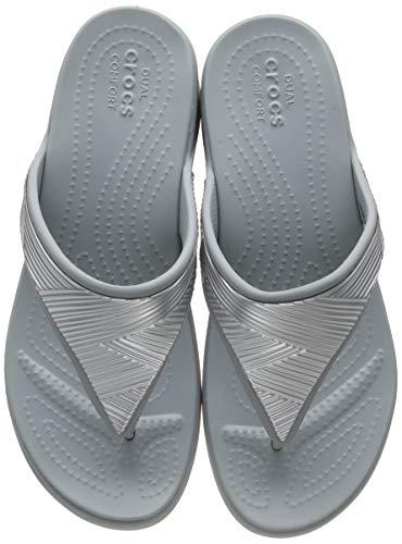 Crocs Monterey Metallic Wedge Flip, Sandalias con cuña Mujer, Silver, 35 EU