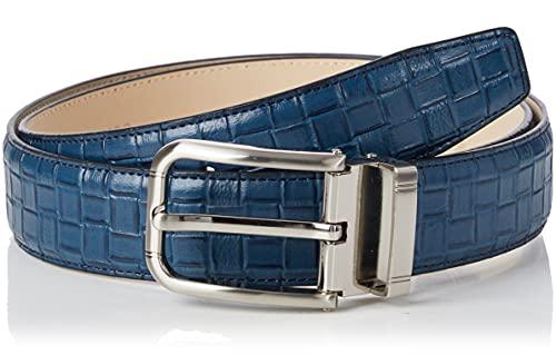 Anthoni Crown Ledergürtel Cintura, Blu Scuro, 110 cm Uomo