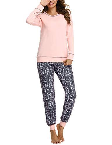 Hawiton Schlafanzug Damen Pyjama Lang Pyjamas Set Star Nachtwäsche Set Baumwolle Zweiteiliger mit Damen Pyjamahose und Langarm Shirt Rundhals Sleepwear für Herbst Winter, Farbe:Rosa, Gr.M