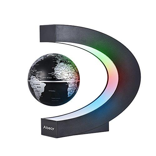 Aibecy Magnetische Schwebender Globus Beleuchtet 3 Zoll C-förmiger Weltkarten Globus mit LED-Farblichtern für die Home Office Schreibtischdekoration (Schwarz)