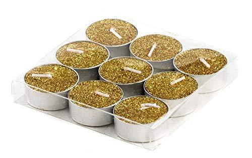 DARO DEKO Teelichter mit Glitzer in Gold - 36 Stück