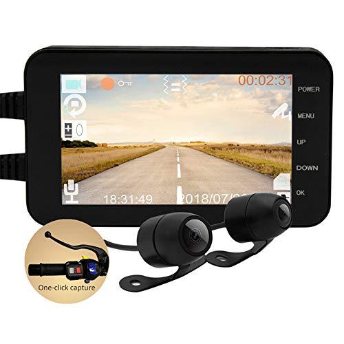 REDCVBN Grabadora De Motocicleta 4 Pulgadas 1080P HD Motocicleta Grabadora De Conducción Impermeable Doble Espejo De Conducción Monitor De Motor Ultra HD Movimiento Grabación En Bucle