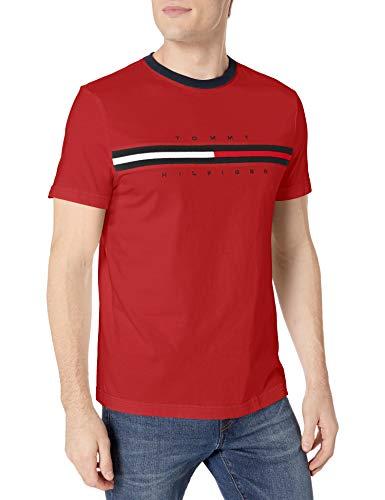 Tommy Hilfiger Men's Short Sleeve Logo T-Shirt,Apple Red,XL