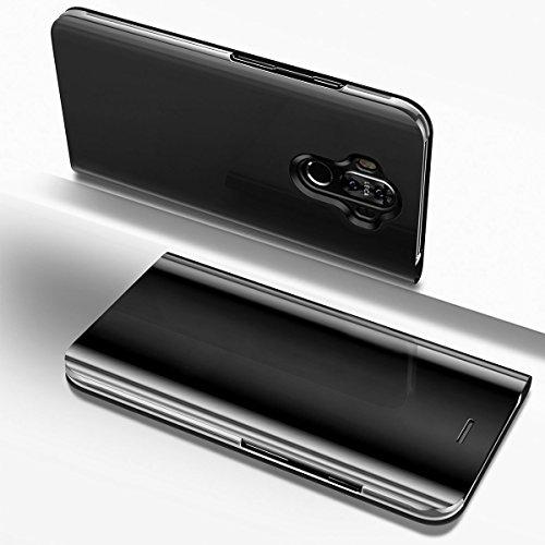 Uposao Miroir Coque Huawei Mate 10 Pro Flip Cover Portefeuille PU Cuir Miroir Complet étui Support Mirror Clear View Miroir à Rabat Smart Case Cover Coque à Rabat Magnétique Huawei Mate 10 Pro-Noir