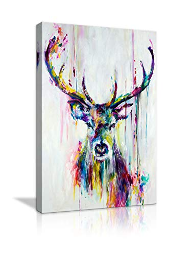 Deer Head Stag Canvas Abstract Wall Art Painting Watercolor Deer Stag Print Animal Poster Artwork for Living Room Bedroom Bathroom Framed Ready to Hang