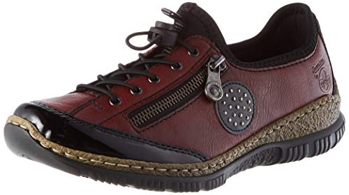 Rieker Damen N3268 Slip On Sneaker, schwarz/Wine/schwarz/schwarz 02, 38 EU