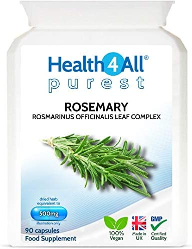 Rosemary 500mg 90 Capsules (V) Purest- no additives. Memory, Focus and Learning. Natural Vegan Nootropic. Made by Health4All