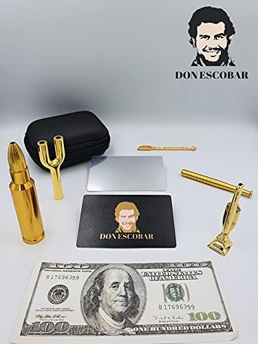 DON ESCOBAR Premium Luxus Gold Schnupftabak Ziehröhrchen Set Dosierer El Chapo Zieh Snorter inkl. Versteck Dose Dosierlöffel Schnupf Besteck Röhrchen Pipe Set Dosierer Schnupf Zubehör