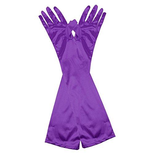 Sconosciuto Lunga Guanti in Sera Raso da Donna Lunghezza Fino al Gomito per Vestito Feste - Purpura