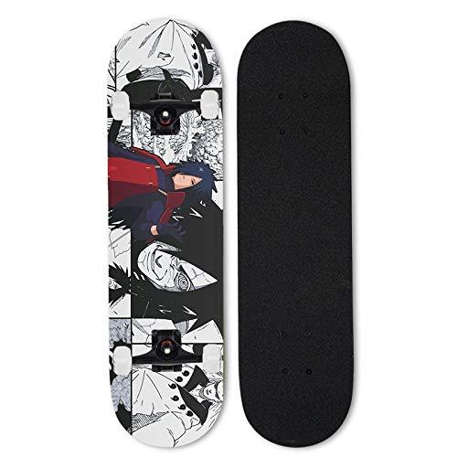 Totots Uchiha Madara Skateboard, Naruto Anime Siete-Capa Mapate de Arce, patineta de Cuatro Ruedas con Doble inclinación, Tablero de Deportes Extremos al Aire Libre, patineta para Adultos, Regalos de