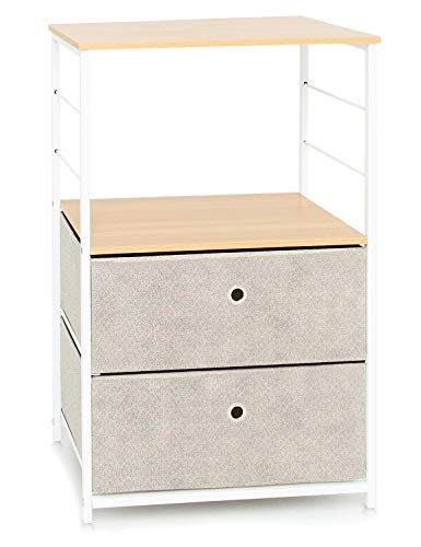 Bedside Table Wooden+Steel Side Table with Storage Compartment Small Sofa Side Table Decorative Coffee Table With Shelf Metal Low Narrow Chest of 2 Drawers 1 Tier Nightstand Beige & White