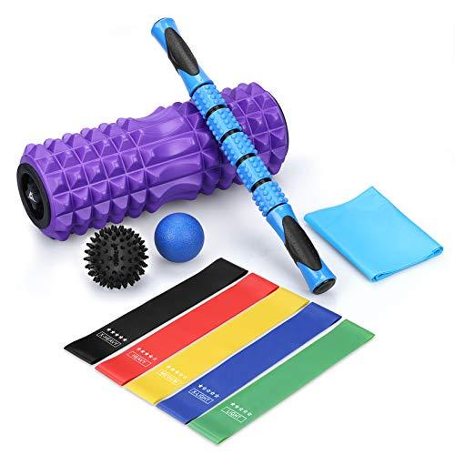 SKL Faszienrolle Schaumstoffrolle Set, 6 in 1 Massagerolle Rollen Set mit Roller Stick Faszienbälle Foam Roller Fitnessband zum Faszien Training von Muskeln…