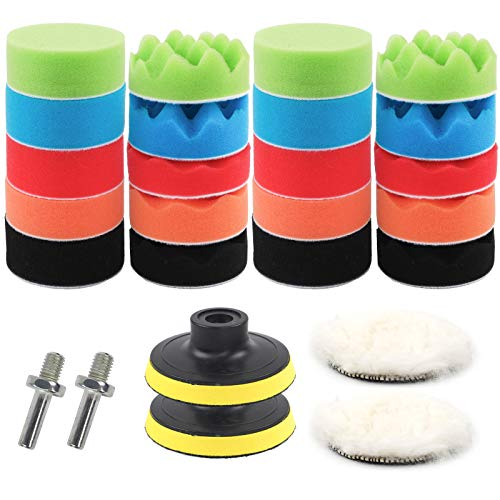 Coceca 26pcs Car Foam Drill Polishing Pad Kit, 3 Inch Buffing Sponge Pads Kit for Car Sanding, Polishing, Waxing,Sealing Glaze