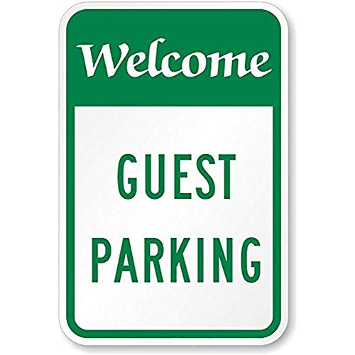 Kent Sparks Metal Road Sign Welcome, Guest Parking Sign.12 x 8 inch Sign.