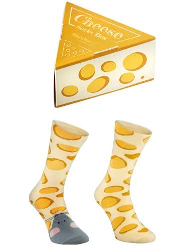 Rainbow Socks - Damen Herren Lustige Kase & Maus Socken Geschenk 1 Paar - Kase & Maus - Größen 41-46