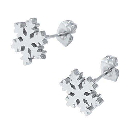 Magnet Ohrstecker Eiskristall frozen Snowflake Lebensfreude filigran und flach gearbeitet Energetix 4you 1056P + Schmuckpouch