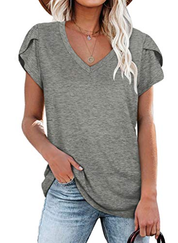 Summer Shirts for Women Casual Short Sleeve Flowy Tops Grey L