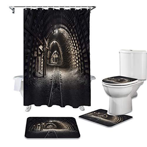 YNYEZBH Rideau de Douche 4 pièces Ensemble Mine Noir Tunnel Couverture de Toilette Tapis de Bain antidérapant imperméable Rideau de Douche Salle de Bain décoration
