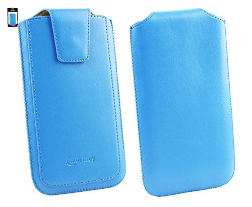 Emartbuy® Sleek Serie Light Blau Luxury PU Leder Tasche Hülle Schutzhülle Case Cover ( Größe 5XL ) Mit Ausziehhilfe Geeignet für Gionee Elife E8 6 Zoll Smartphone