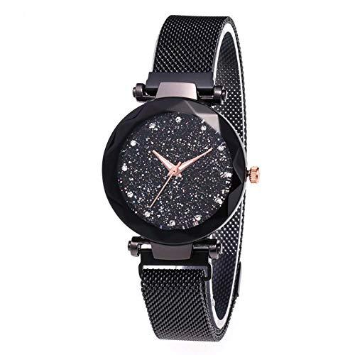 Damen Uhren, Starry Sky Damenuhren, Parkomm Frauen Sky Star Armbanduhr mit Magnet Band Schnalle für Business/Urlaub/Geburtstag Geschenke (Schwarz)