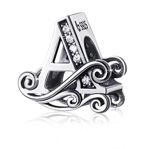 Silver Anti-sensitive Alphabet Beads Initial Letter A to Z Charms for Snake Chain Bracelet Necklace, Special Gift for Girls Women Daughter Men (Letter A)