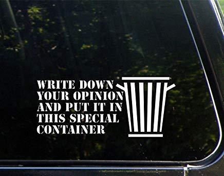 Schrijf de opinie en maak het in deze speciale container-vinyl de cut decal bumper sticker voor Windows, Cars, Trucks, Laptops, Et