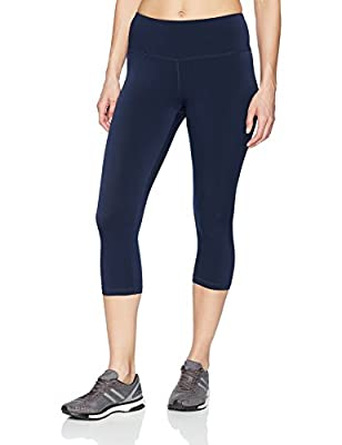 Amazon Essentials Women's Performance Mid-Rise Capri Active Legging, Navy, Medium