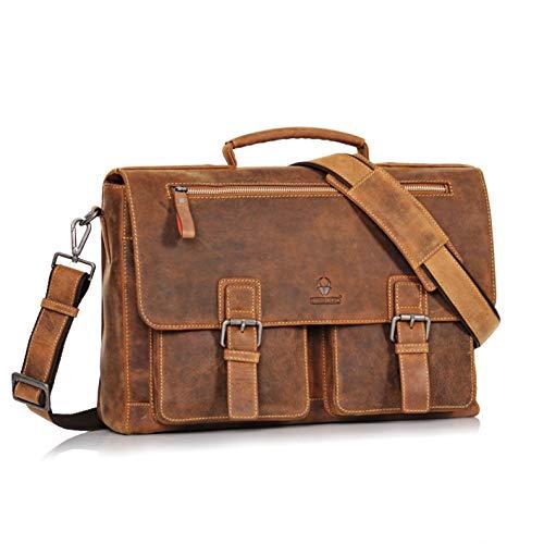 DONBOLSO® Toronto Messenger Bag Leder I Umhängetasche für Laptop I Aktentasche für Notebook I Tasche für Damen und Herren (Braun)