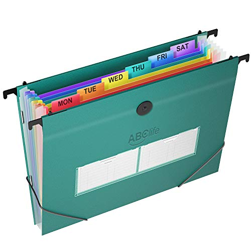 35 Pockets Plastic Hanging File Folders Letter Size Accordian File Organizer Expanding File Folder for Filing Cabinet/Accordion File Box Rainbow Paper Document Organizer Retractable Hooks/Tabs(1Pack)