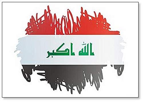 Kühlschrankmagnet, Motiv: Flagge des Irak, Republik Irak, Pinsel-Stil